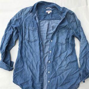 Tops - Blue wash jean button down top